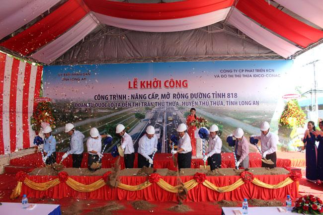 Khởi công Công trình nâng cấp, mở rộng đường Tỉnh 818 đoạn từ quốc lộ 1A đến thị trấn Thủ Thừa, huyện Thủ Thừa, tỉnh Long An
